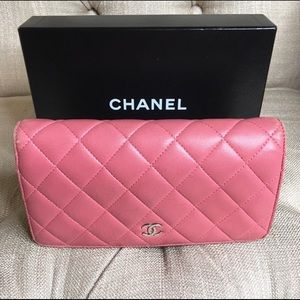 Chanel Pink Leather Quilted Long Wallet